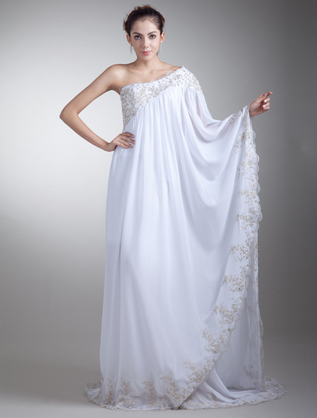 Milanoo Romantic White Sheath One-Shoulder Sequin Chiffon Bridal Wedding Dress