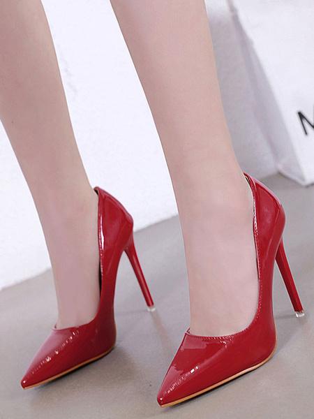 Milanoo Red High Heels Women Pointed Toe Slip On Pumps