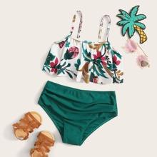 Maedchen Bikini Set mit Blumen Muster und Schosschen