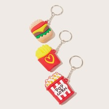 3pcs Hamburger & Popcorn Charm Keychain