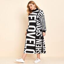 Plus Drop Shoulder Split Hem Letter Graphic Sweatshirt Dress