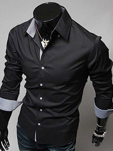Milanoo Men Dress Shirt Blue Turndown Collar Long Sleeve Cotton Shirt