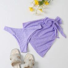 2 Stuecke Bikini Hoschen mit Punkten Muster & Strandrock
