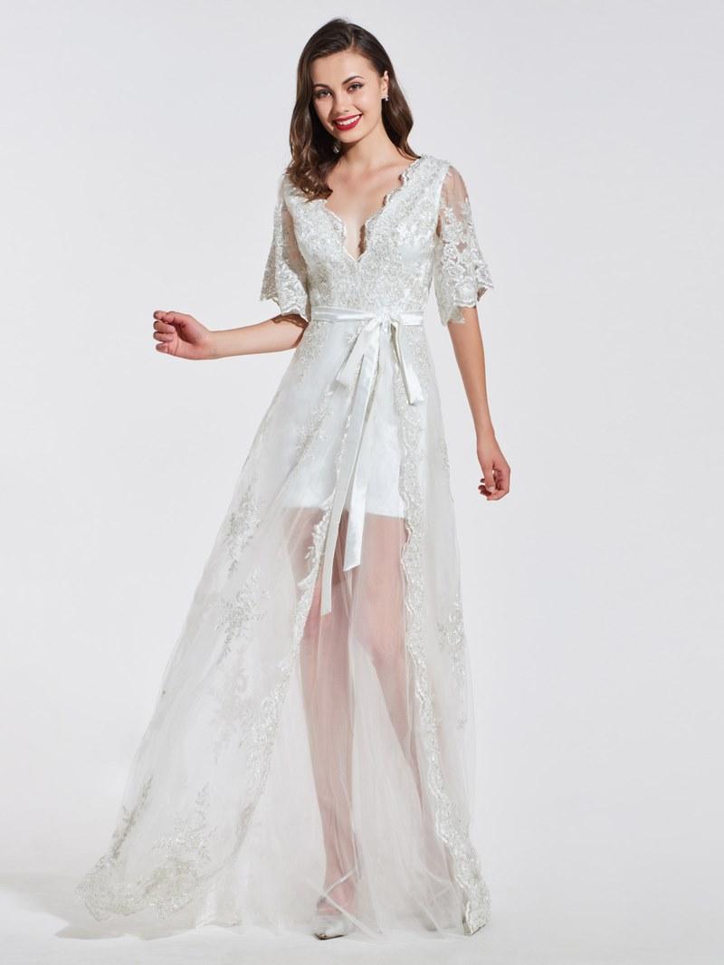 Ericdress A Line Short Sleeve Applique Long Prom Dress