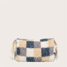 Color Block Fluffy Crossbody Bag