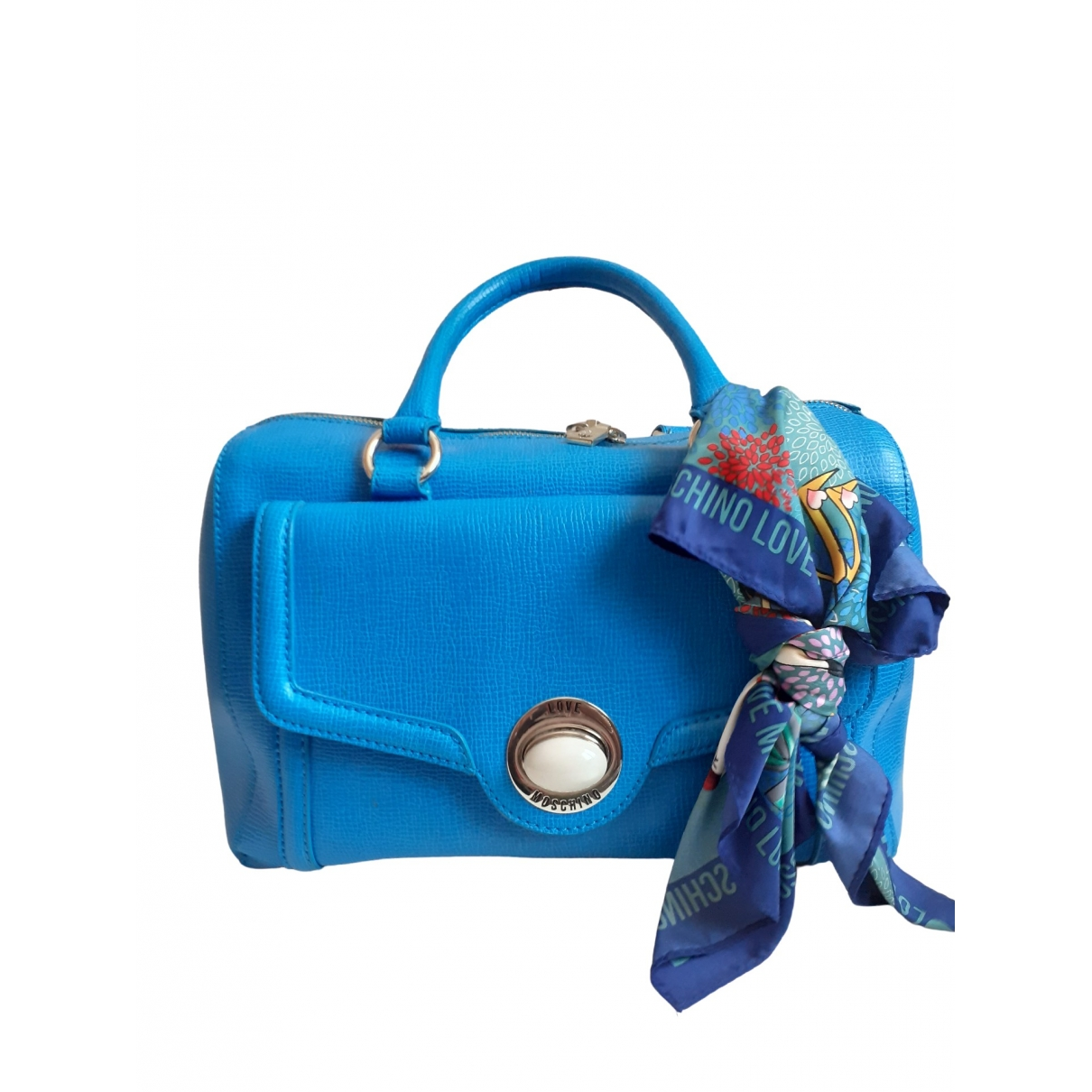 Moschino \N Clutch in  Blau Leder