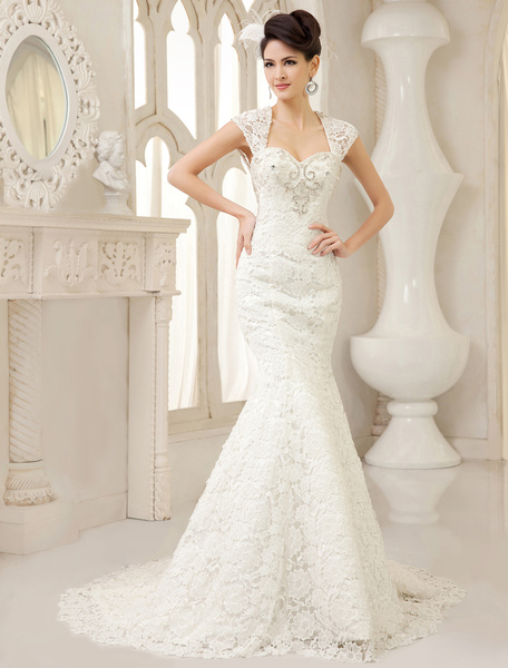 Milanoo White Mermaid Queen Anne Neck Pearls Sweep Lace Bridal Wedding Gown