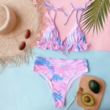 Tie Dye Ruffle Triangle High Waisted Bikini Swimsuit