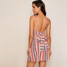 Tie Back Striped Cami Dress