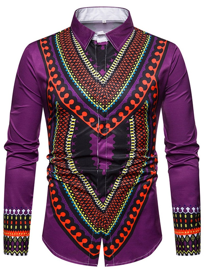 Ericdress Ethnic Lapel Geometric Single-Breasted Men's Slim Shirt