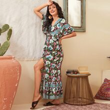 Plunging Batwing Sleeve Split Thigh Floral Dress