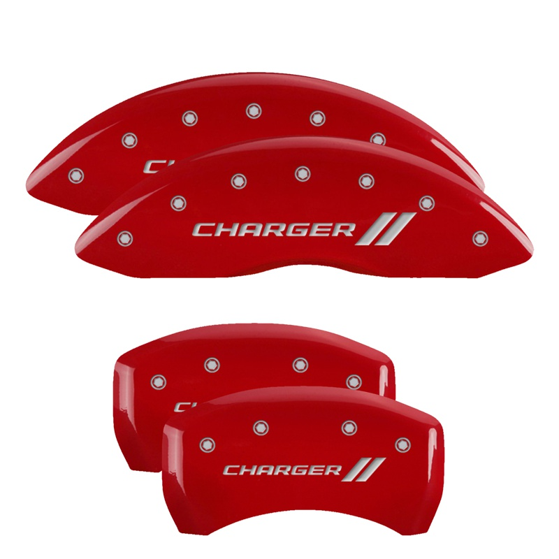MGP Caliper Covers 12162SCH1RD Set of 4: Red finish, Silver Charger ll / Charger ll Dodge 2011-2019