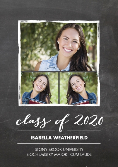 2020 Graduation Announcements Flat Glossy Photo Paper Cards with Envelopes, 5x7, Card & Stationery -2020 Grad Gold Stroke by Tumbalina