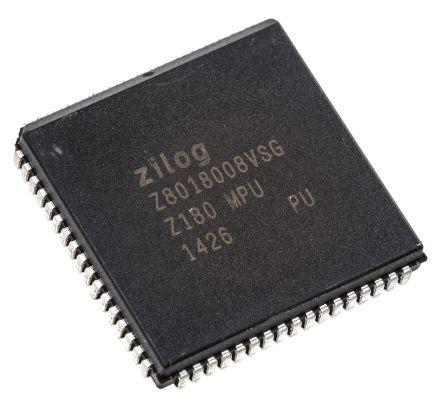 Zilog Z8018008VSG, Z80 Microprocessor Z180 8bit CISC 8MHz 68-Pin PLCC