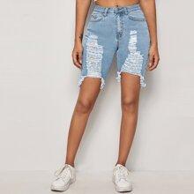 Raw Hem Ripped Skinny Denim Shorts