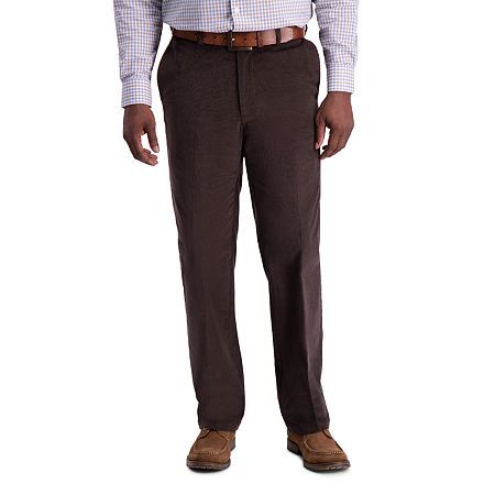Haggar Stretch Corduroy Classic Fit Flat Front Pant, 44 29, Brown