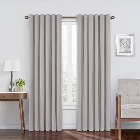 Eclipse Bradley Absolute Zero Velvet 100% Blackout Back-Tab Single Curtain Panel, One Size , Gray