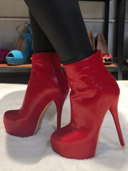 Milanoo botines mujer rojo  de tacon de stiletto de puntera redonda 15cm de PU Primavera Otoño Color liso Cremallera para ocasion informal