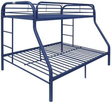 Tritan Collection 02052BU Twin Xl Over Queen Size Bed with Built-In 2 Side Ladders  Full Length Guard-Rail  Slat System Included and Metal Tube Frame