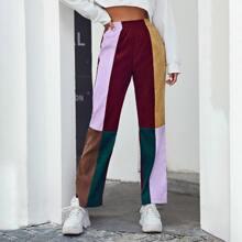 Elastic Waist Colorblock Cord Pants