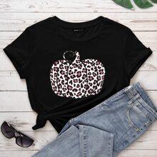 T-Shirt mit Leopard Muster und kurzen Ärmeln