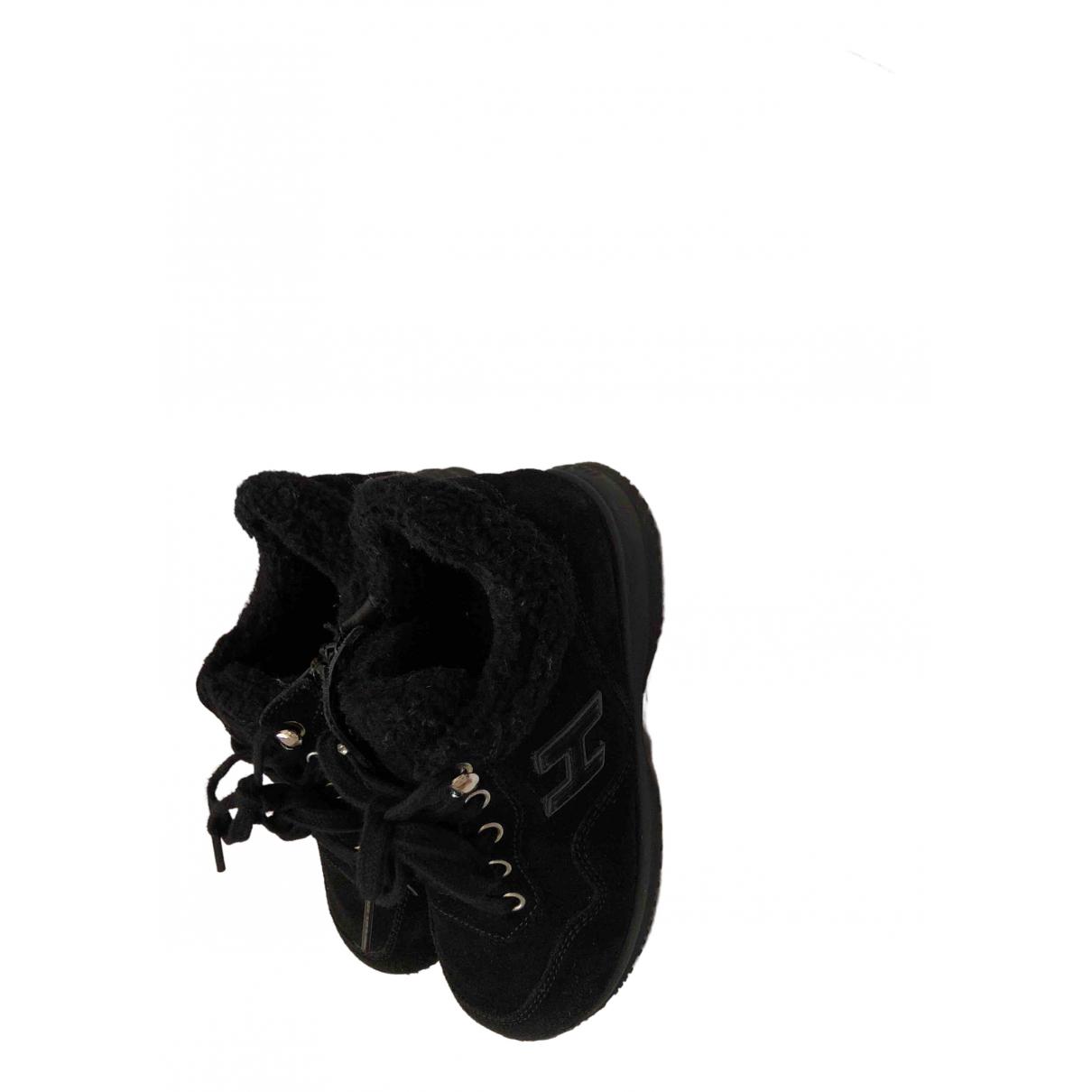 Hogan - A lacets   pour enfant en suede - noir