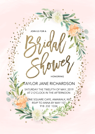 Wedding Shower Invitations Flat Matte Photo Paper Cards with Envelopes, 5x7, Card & Stationery -Bridal Shower Spring Floral Frame by Tumbalina