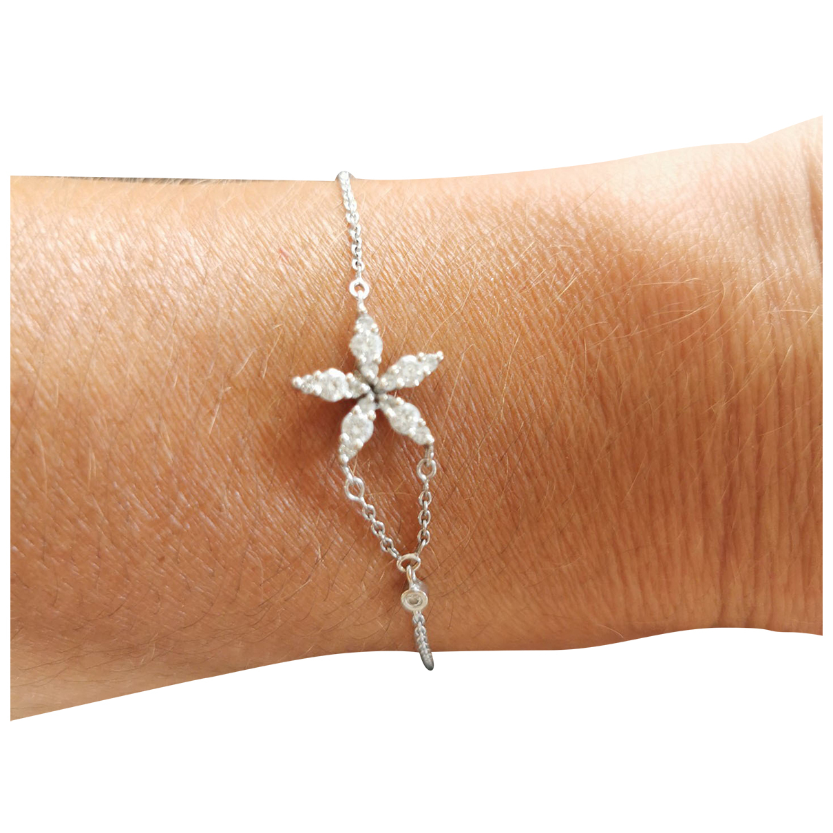 Non Signé / Unsigned Motifs Floraux Silver White gold bracelet for Women \N