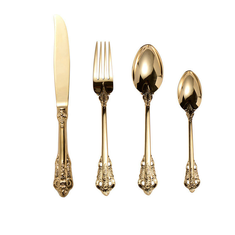 Retro Vintage Western Gold Plated Relief Cutlery Dining Knives Forks Teaspoon Set Golden Luxury Type