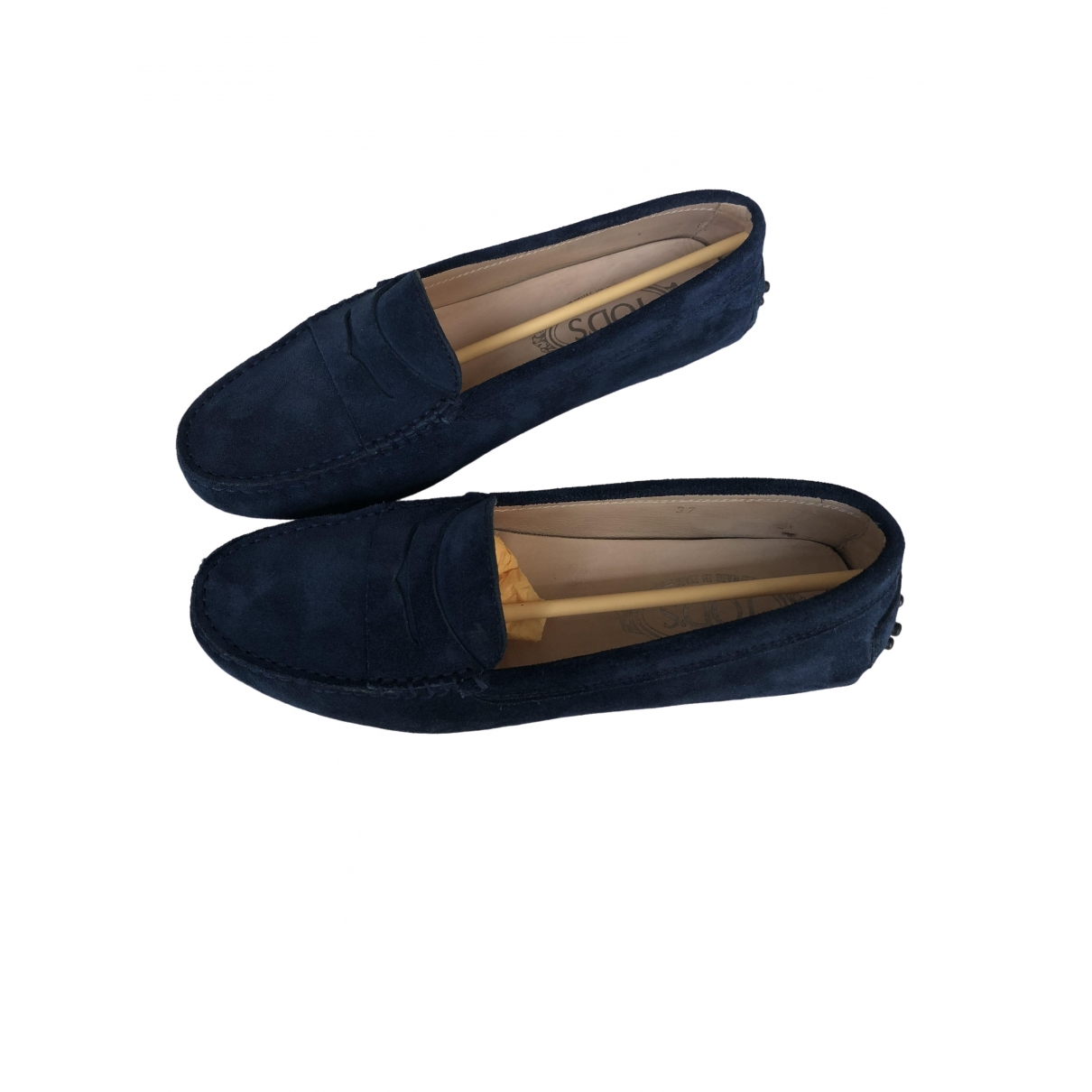 Tod's Gommino Navy Suede Flats for Women 37 IT