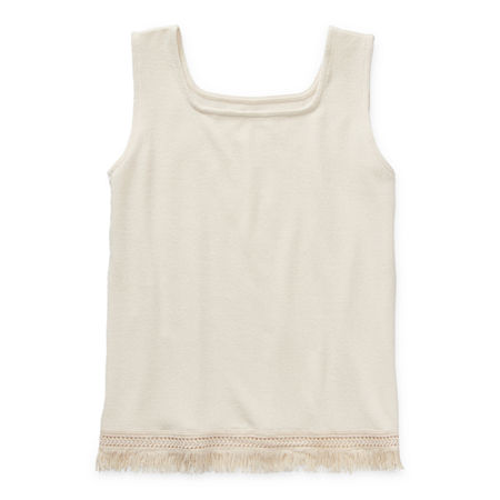 Arizona Little & Big Girls Square Neck Tank Top, X-large (16) , White