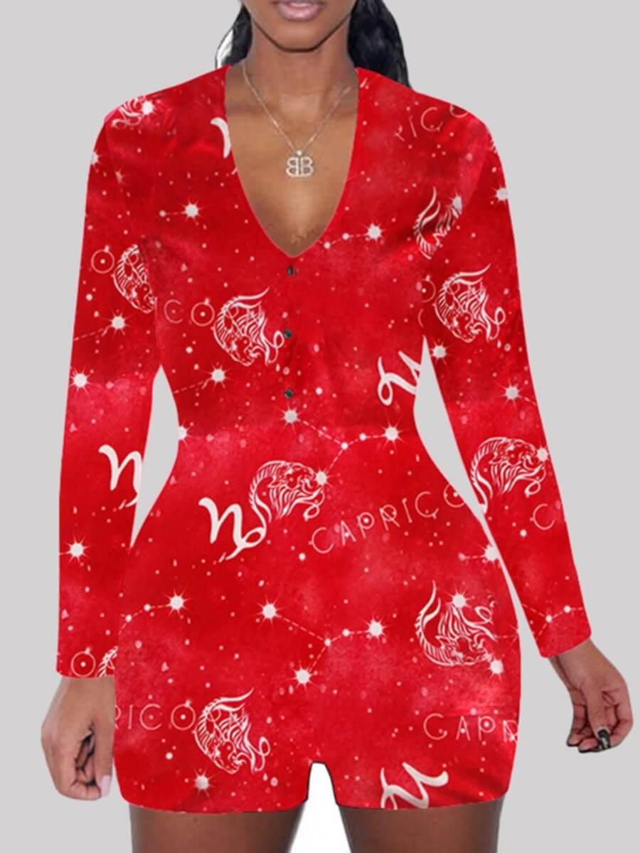 LW Lovely V Neck Skinny Print Red Sleepwear