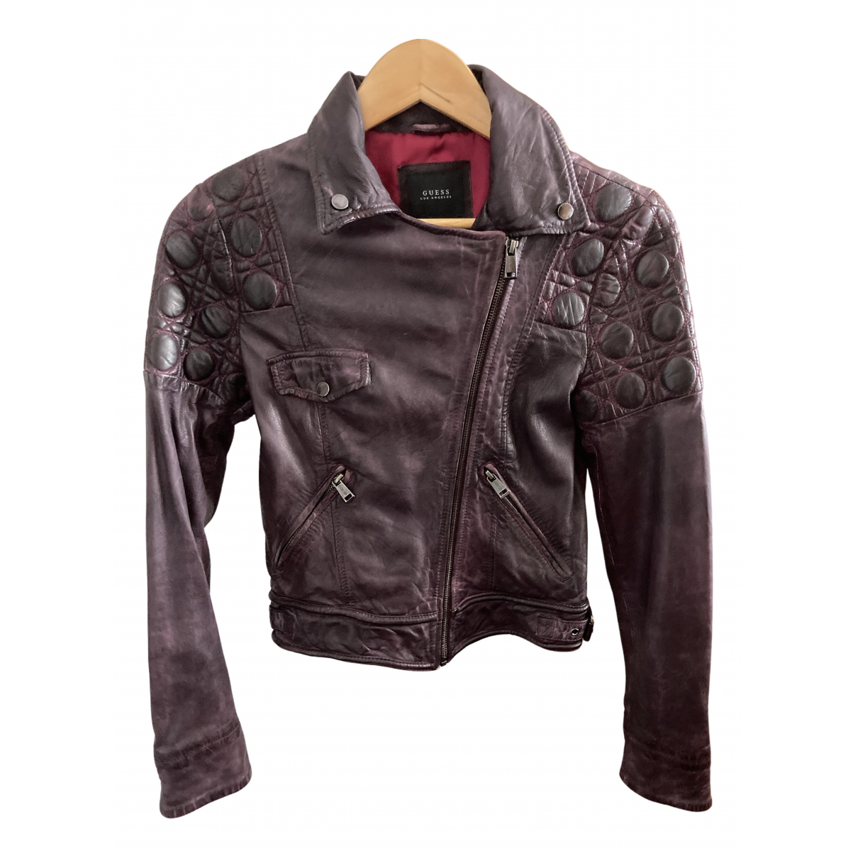 Guess \N Purple Leather jacket for Women 34 FR