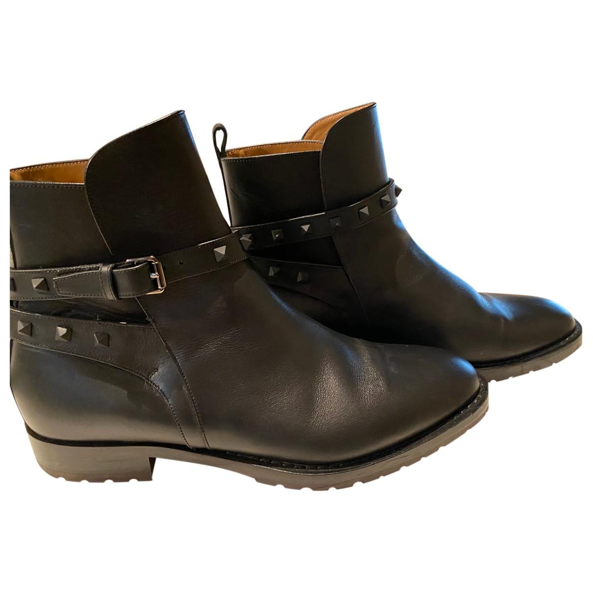 Valentino Garavani N Black Leather Boots for Men 44 EU