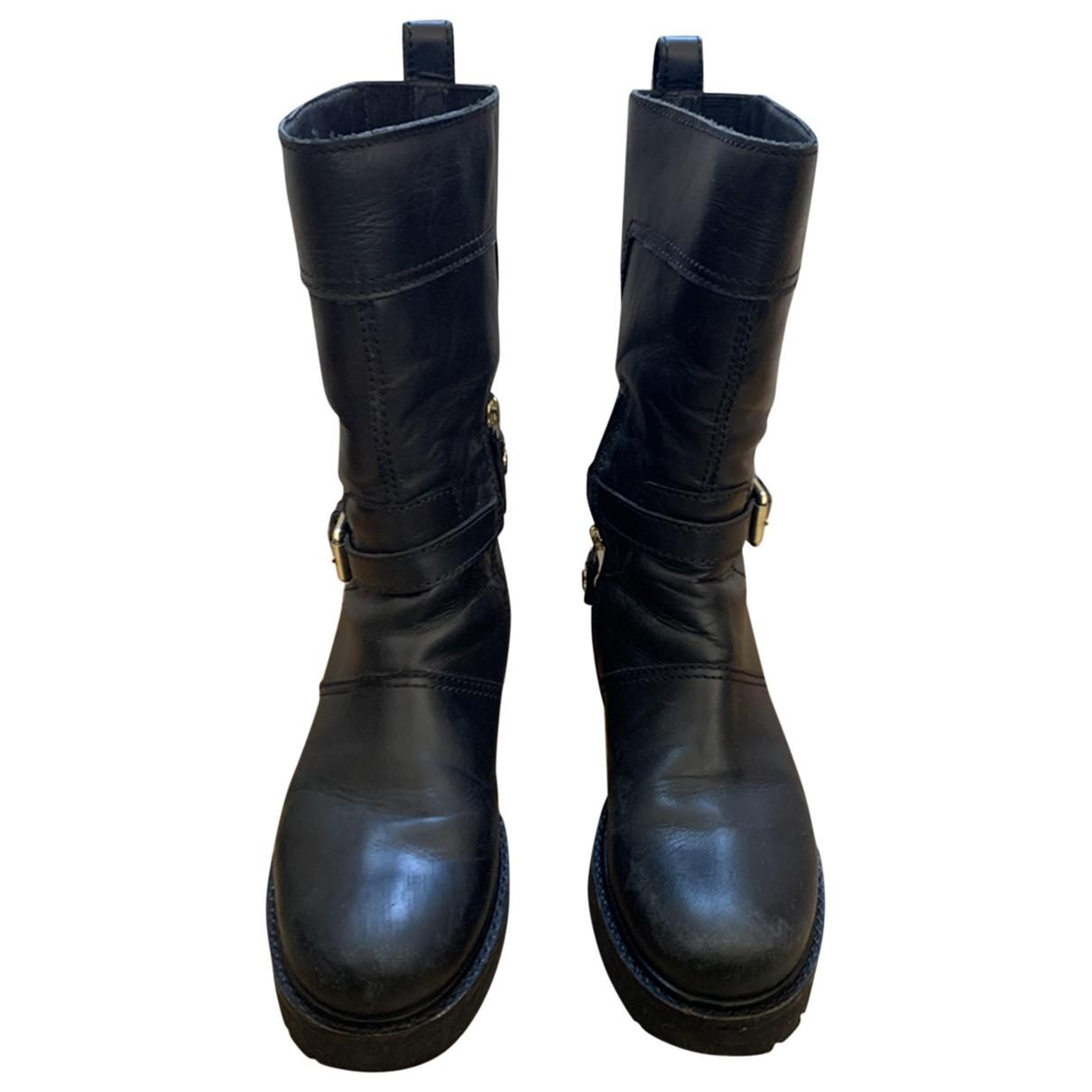 Twin Set \N Stiefeletten in  Schwarz Leder