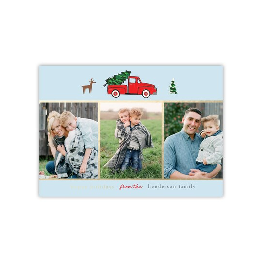 20 Pack of Gartner Studios® Personalized Truck Gold Foil Flat Holiday Photo Card in Baby Blue   5 x 7   Michaels®