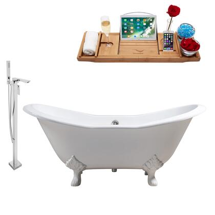 RH5163WH-CH-140 61 Oval Shaped Soaking Clawfoot Tub With 37 Gallons Capacity  Vintage Style  Enamel And Cast Iron Construction  And Floor Mounted