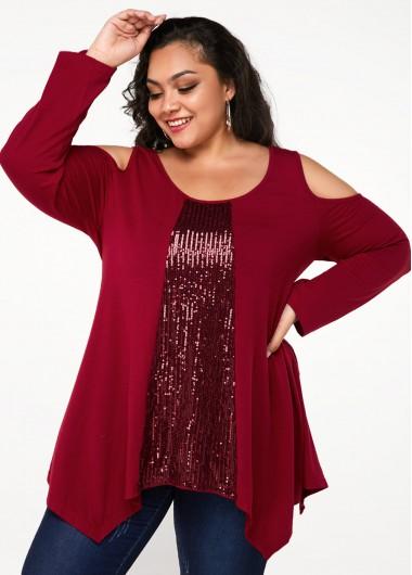 Plus Size Cold Shoulder Sequin Panel T Shirt - 1X