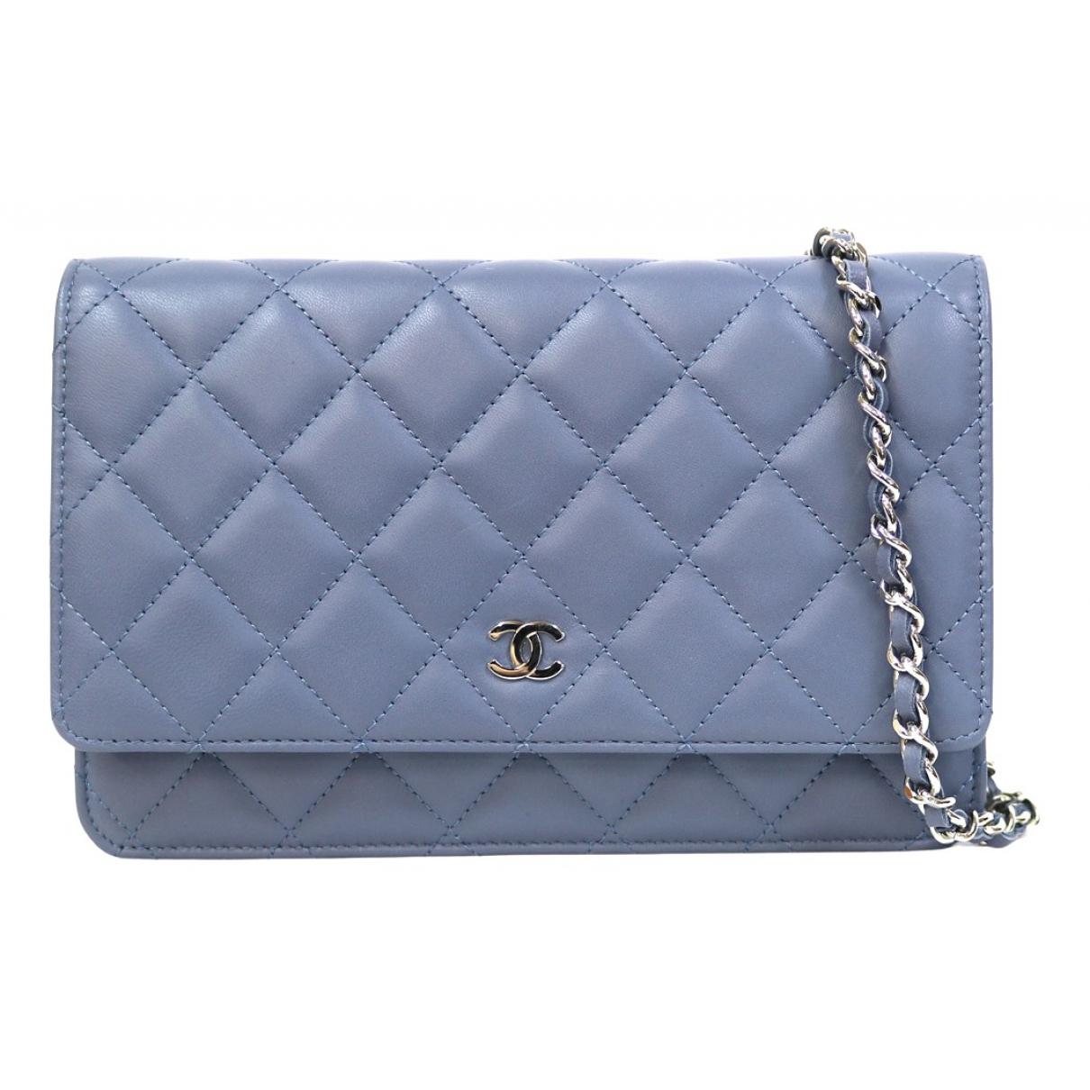 Chanel Wallet on Chain Clutch in  Blau Leder