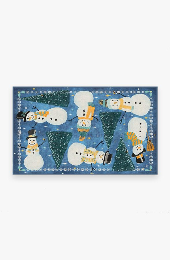 Washable Rug Cover | Snowy Soiree Navy Rug | Stain-Resistant | Ruggable | 3'x5'
