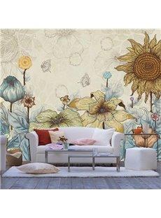 Simple Style Sunflower Pattern Decorative Waterproof 3D Wall Murals