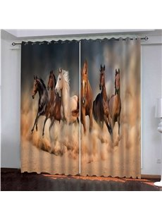 3D Printed Blackout Country Curtains Horses Galloping in the Desert 2 Panel Set 80 Inches Wide and 84 Inches Long Heat Insulation and Water-proof