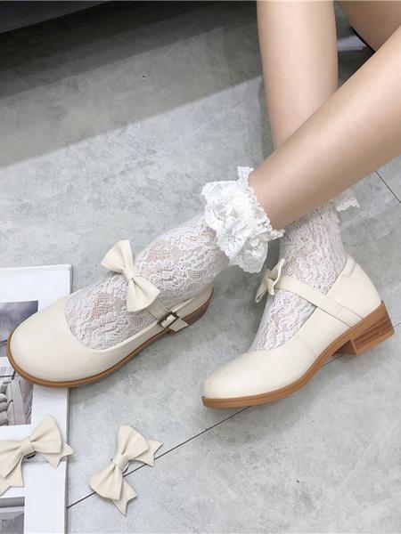 Milanoo Calzado Sweet Lolita Botones Negros Lazos Zapatos Lolita