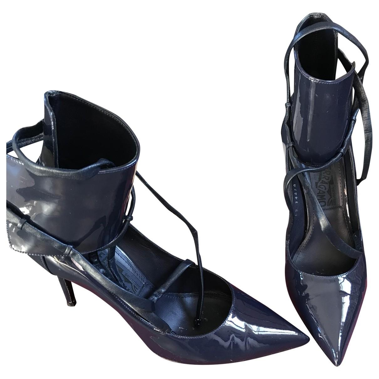 Salvatore Ferragamo - Escarpins   pour femme en cuir - bleu