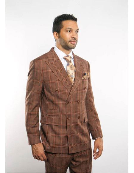 Mens Plaid Blazer 2 Breasted Brown Peak Lapel Button Closure Suit