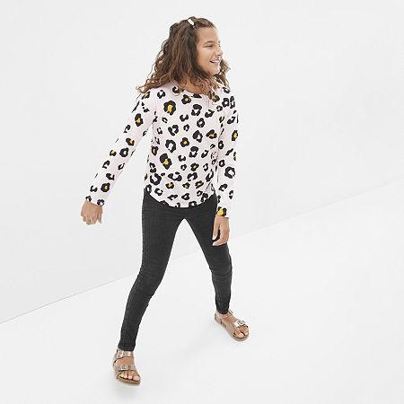 Arizona Little & Big Girls Round Neck Long Sleeve Graphic T-Shirt, Medium (10-12) , Pink