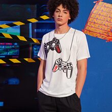 Men Game Console & Letter Graphic Tee