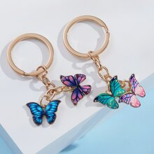 2pcs Butterfly Charm Keychain