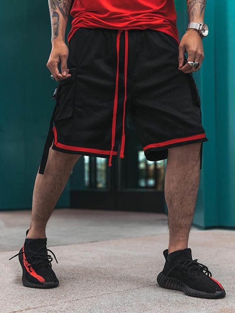 Ericdress Patchwork Color Block Loose Lace-Up Men's Mid Waist Shorts