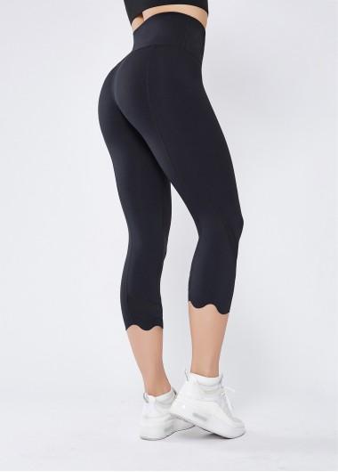 Womens Sportswear Gym Leggings Athletic Sports Leggings Activewear High Waist Black Stretch Quick-drying Breathable Yoga Pants - L
